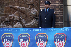 A firefighter stands outside the FDNY Ten House on the day marking the 20th anniversary of the September 11, 2001 attacks in New York on September 11, 2021