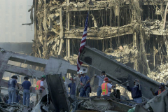 September 13, 2001--World Trade Center--Shown is a scene in Lower Manhattan/ Ground Zero of the since destroyed World Trade Center after terrorist attacks two days earlier on Tuesday September 11, 2001. (©2001 Kevin P. Coughlin/Independent Photojournalist)