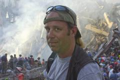 September 13, 2001--World Trade Center--Portrait of photojournalist Kevin P. Coughlin taken Wednesday afternoon 9-13-01 at Ground Zero of the destroyed World Trade Center after terrorist attacks two days earlier on Tuesday September 11, 2001. (©2001 Kevin P. Coughlin/Independent Photojournalist)