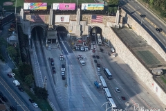 Aerial View of the entrance to the Lincoln Tunnel in New Jersey at rush hour. The tunnel normally be crowded at this time but it is almost empty due to the Corona Virus.