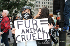New York,   Anti Fur protest in Manhattan. Protestors marched through the streets of Manhattan and targeted high end clothes stores that sell Fur products.