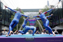 """The members of the STREB Extreme Action company perform on a rotating stage in an experimental dance piece entitled """"Plateshift"""" inside the public plaza of the Manhattan West Plaza at 395 9th Ave in Manhattan NY on September 17, 2021. (Photo by Andrew Schwartz)"""