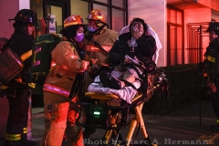 Six residents suffered non-life-threatening injuries during a fire that broke out in a 10th floor apartment of the Shore Hill Senior Center, 9000 Shore Rd., Bay Ridge, on Mon., December 14, 2020.  Photo by Marc A. Hermann