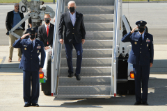 President Joe Biden touches down at JFK airport on Sept 7th. He arrives to check damages from hurricane IDA.
