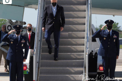 U.S. President Joe Biden disembarks from Air Force One at John F. Kennedy (JFK) airport in New York, U.S., on Tuesday, Sept. 7, 2021. Biden is visiting parts of New York City and New Jersey that suffered damage when remnants of Hurricane Ida hit the region with flash flooding that killed at least 40 people.