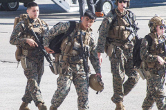 Young soldiers walk by waiting for arrival of President Joe Biden at JFK airport on his way to the UN General Assembly which kicks off on September 21, 2021. (C) Bianca Otero September 20, 2021.