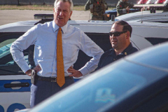New York CIty Mayor, Bill de Blasio awaits the arrival of President Joe Biden at the JFK airport, September 20, 2021. (C) Bianca Otero September 20, 2021