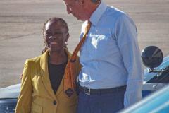 New York CIty Mayor, Bill de Blasio and wife, Chirlane McCray await the arrival of President Joe Biden at the JFK airport, September 20, 2021. (C) Bianca Otero September 20, 2021