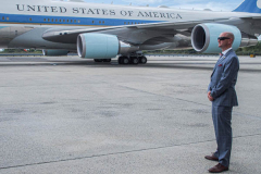 """White House security  in front of Air Force One at JFK airport. President Joe Biden attended the 76th UN General Assembly in Manhattan. President Biden declared that the US will use """"relentless diplomacy"""" instead of military means like that of the Afghanistan """"relentless war"""" and that the next decade is a """"decisive decade"""" for the world and our decisions will determine the global community's future. (C) Bianca Otero September 21, 2021"""