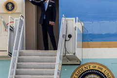 """President Joe Biden boards Air Force One at JFK Airport after speaking for his first time at the 76th UN General Assembly as President on September 21, 2021. President Biden declared that the US will use """"relentless diplomacy"""" instead of military means like that of the Afghanistan """"relentless war"""" and that the next decade is a """"decisive decade"""" for the world and our decisions will determine the global community's future. (C) Bianca Otero September 21, 2021"""
