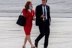 """White House Press Secretary, Jen Psaki walks to Air Force One after a day at the UN General Assembly in which President Joe Biden spoke for his first time as President on September 21, 2021. President Biden declared that the US will use """"relentless diplomacy"""" instead of military means like that of the Afghanistan """"relentless war"""" and that the next decade is a """"decisive decade"""" for the world and our decisions will determine the global community's future. (C) Bianca Otero September 21, 2021"""
