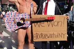 Artist and Activist Tootsie Warhol and The Naked Cowboy celebrate Joe Biden as the next President of the United States of America in Times Square