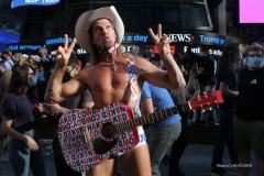 Celebrations breakout all over New York City with the news of  Biden/ Harris  Presidential victory. Naked Cowboy in Times Square