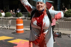 Juliet Germanotta age 39 dressed as Lady Liberty smears red paint on the Black Lives Matter mural in front of Trump Tower in Manhattan she was arrested and taken to the Midtown south precinct  . 8/23/2020
