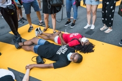 Black Lives Matter mural rally outside Trump Towers on 5th Avenue in New York City.