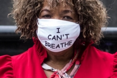 Gwen Carr, racial justice activist and mother of Eric Garner, at a press conference calling for a ban on police chokeholds in Foley Square on 02, June 2020 in New York City