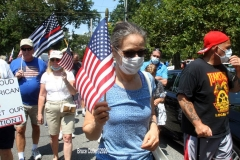 Back the Blue Rally started in Marine Park  then marchers walked thru the streets to Gerritsen Beach Brooklyn.The families of slain Police officers Russel Timoshenko and .Wenjan Liu attended the rally    8/9/2020