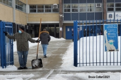 NEW YORK—? Covid Vaccine site located  in a Brooklyn high school. Elderly and eligible N.Y.C. personnel brave snow storm to get vaccinated.