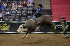Joao Ricardo Vieira rides a bull named Texas Blood while competing in the PBR's (Professional Bull Riders) Elite Unleash The Beast event at the Prudential Center in Newark NJ on September 19, 2021. (Photo by Andrew Schwartz)