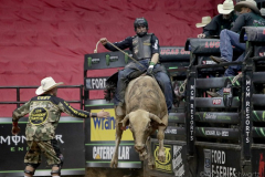 Ramon de Lima rides a bull named Puddle Dock Road while competing in the PBR's (Professional Bull Riders) Elite Unleash The Beast event at the Prudential Center in Newark NJ on September 19, 2021. (Photo by Andrew Schwartz)