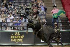 Jose Vitor Leme rides a bull named Slingin Tears while competing in the PBR's (Professional Bull Riders) Elite Unleash The Beast event at the Prudential Center in Newark NJ on September 19, 2021. (Photo by Andrew Schwartz)