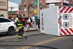 New York-  Nine People injured in Rollover crash involving a Ambulance  at the corner ofAvenue N and Schenectady Ave. The injured patients were taken to area hospitals. One person was listed in critical condition and may not survive. New York Police Department Highway CIS unit was called to the scene to investigate the accident.