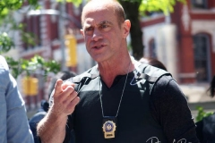 """Christopher Meloni seen on the set of """"Law and Order: Organized Crime"""" in Manhattan on 12 May 2021 in New York City"""
