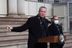 New York, The New York  Democratic  Congressional delegation holds a press conference in front of New York's City Hall with New York City Mayor Bill de Blasio about impeaching President Donald Trump. Mayor Bill de Blasio
