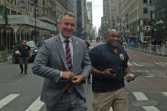 Police Commissioner Dermot Shea arrives at the start of the Columbus Day Parade on Fifth Avenue