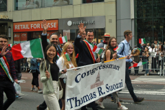 Cong. Tom Suozzi (D, Long Island) was one of many Italian-American politicians marching along Fifth Avenue