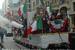 Children from the Roman Catholic Diocese of Brooklyn show off their Italian flags in one of many floats.