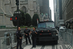 An NYPD tactical unit was stationed outside St. Patrick's Cathedral during the parade.