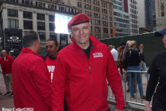 New York,  77th Columbus Day Parade returns to New York City. after it was cancelled last year due to Covid. Marchers and Bands walk up 5th ave.   NYC Mayorial candidate Curtis Sliwa Founder of the Guardian Angels