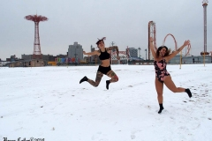 December 20,2020    Coney Island Polar Bears go for their weekly swim. Snow covers the sand because of the snow storm that happened a few days before the swim. The outdoor temperature was 37 degrees and the water temperature is 52 degrees.