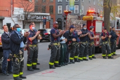 Community members, and fire companies 207,226, and 210, turned out to show their appreciation for health care workers at Brooklyn Hospital on Easter Sunday.