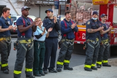 Community members, and fire companies 207,226, and 210, turned out for the 7:00 pm cheer for health care workers at Brooklyn Hospital on Easter Sunday.