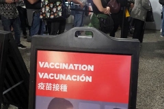 People in New York City lined up at Penn Station to receive their Covid Vaccine at Pop Up Sites that are in all 5 Boroughs. They received the Johnson and Johnson vaccine and received a free week long Metro Card or 2 free rides on the Long Island Railroad on 12 May 2021