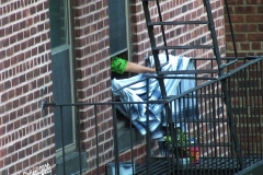 Out the Window resident of a Co-op Building in Sheepshead Bay takes in laundry that she left on the fire escape to dry. Brooklyn.  8/8/2020