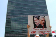 Cuban Americans Rally in front of the United Nations building in New York City. Protestors cover themselves in blood to protest the Human rights violations on the cuban people.