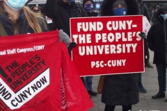 New York- Professional Staff Congress (PSC) had a Rally and March to protest the City University of New York's budget process.  P.S.C.union president Barbara Bowen spoke at the rally as well as New York City politicians.