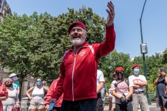 Curtis Sliwa, founder of the Guardian Angels, talks to a group of Upper West Siders about the hotels turned homeless shelters in New York City on August 9, 2020. Residents have complained about an uptick in crime and drugs as well as the housing of sexual offenders in the neighborhood.  (Photo by Gabriele Holtermann)