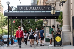 Curties Sliwa and the Guardian Angels walk past Hotel Belleclaire on the Upper West Side which has been turned into a homeless shelter in New York City on August 9, 2020. (Photo by Gabriele Holtermann)