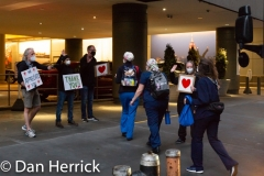 Locals greet the visiting healthcare workers as they arrive at the Marriott Maquis Hotel In Times Square after returning from their work at the hospitals.