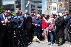Joe Piscopo (left) at an Italian-American community group demonstration in Columbus Circle in New York on May 12, 2021 in support of Italian Heritage and Columbus Day.