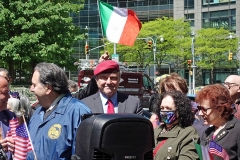 Italian Americans Protest School Policy on Columbus Day     NEW YORK, 5/12/2021: Curtis Sliwa at a rally protesting the recent change in the cityÕs school calendar removing the Columbus Day holiday.  Speakers called on Mayor de Blasio, Òto stop advancing false narratives about ColumbusÓ at the protest symbolically at Columbus Circle.  Credit: © 2021 Robert Roth.