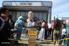 George Floyd verdict rally held in front of his statue in Brooklyn N.Y. The Reverend Al Sharpton's daughters Ashley and Dominque were there when the judge announced the sentence of 22 and half years for Derrick Chauvin in George Floyd's murder.