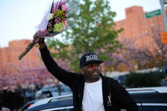 Rapper Dragon embraces fans at DMX's funeral at the Christian Cultural Center in Brooklyn, New York on Sunday, April 25th.