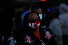 A fan wears a Ruff Ryders shirt at DMX's funeral at Christian Cultural Center.