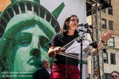"Congressional Candidate for the 11th District, Nicole Malliotakis, speaks at  the ""Don't Give Up the Ship"" rally outside City Hall Park in New York City on August 22, 2020. The rally, led by Staten Island based artist Scott LoBaido, called out the Mayor's failure addressing the recent spike in gun violence and increase in homeless encampments. (Photo by Gabriele Holtermann)"