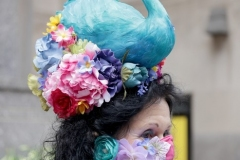 Patricia Ann Parenti, wearing a peacock hat,  participates in the 2021 Annual Easter Bonnet Parade on Fifth Avenue in New York City on April 4, 2021. Paradegoers either dressed in their finest clothing or in colorful bonnets of all shapes and sizes still attended the annual Easter holiday tradition, on the steps of St. Patrick's Cathedral or in nearby Rockefeller Center, despite the Covid 19 pandemic. (Photo by Andrew Schwartz)